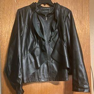 ELOQUII Black Ruffle Faux Leather Jacket